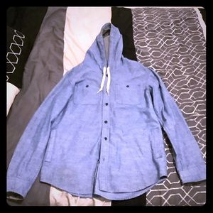Blue button up Hoodie